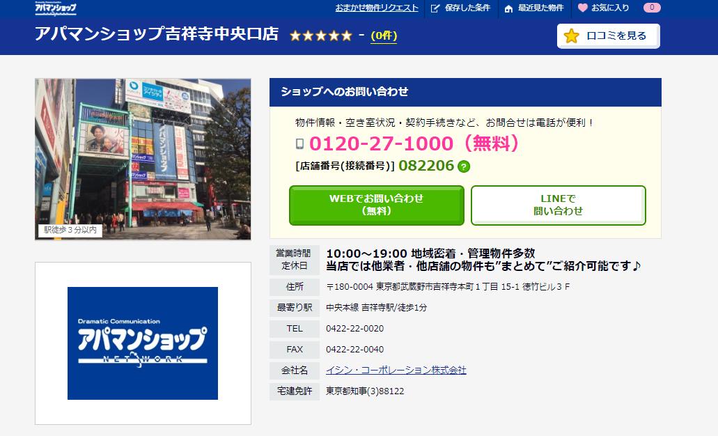 アパマンショップ 吉祥寺中央口店の評判・口コミ